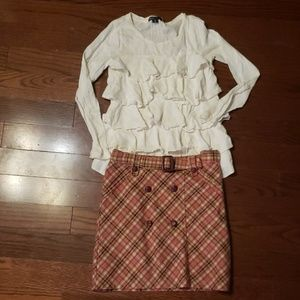 Cato girl size 7 red/tan plaid skirt